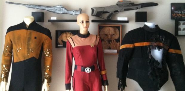Star Trek TNG Distressed Uniform, Star Trek TOS movies Crewman Uniform, Star Trek DS9 Starfleet Flack Jacket, Star Trek Masks and Starfleet Phaser Rifle and Alien Weapon from Enterprise