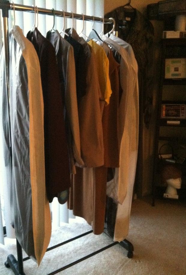 Wardrobe rack of costumes. Seaquest Dsv, Star Trek and Stargate, Eureka, Smallville.